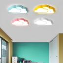 Acrylic Cloud Shade Ceiling Lamp Colorful Macaron Boys Girls Bedroom LED Flush Mount