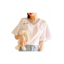 V Neck Rabbit Lollipop Embroidered Short Sleeve Leisure Tee
