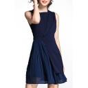 Elegant Patchwork Sleeveless Round Neck Mini A-Line Dress