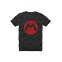 M Letter Printed Round Neck Short Sleeve Leisure Graphic Tee