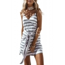 Spaghetti Straps Sleeveless Knotted Front Mini Cami Dress