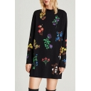 Leisure Flora Printed High Neck Long Sleeve Mini Shift Dress