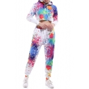 Colorful Splash Ink Printed Long Sleeve Crop Hoodie with Drawstring Waist Pants Co-ords