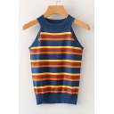 Summer Collection Halter Sleeveless Striped Printed Tank