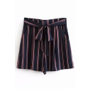Striped Printed High Waist Tie Front Loose Shorts