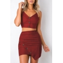 Spaghetti Straps Button Front Plain Crop Cami with Mini Asymmetrical Skirt Co-ords