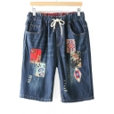 Folk Style Applique Drawstring Waist Loose Denim Shorts