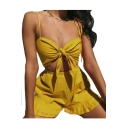 Hollow Out Plain Spaghetti Straps Sleeveless Knotted Front Crop Cami with High Waist Shorts Co-ords