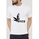 TEAM 420 Letter Printed Round Neck Short Sleeve Graphic Tee