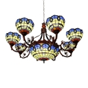 Vintage Classic Art Design Chandelier Light with Colorful Glass Shade