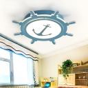 Anchor Kids Room Ceiling Fixture Mediterranean Acrylic LED Flush Mount Light in Blue