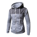 Casual Color Block Patchwork Long Sleeve Zip Up Hoodie