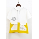 Color Block Cat Fish Bone Printed Short Sleeve Hooded Tee