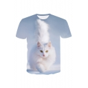 3D White Cat Printed Round Neck Short Sleeve Tee