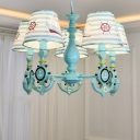 Mediterranean Anchor Island Chandelier Boys Room Fabric 5 Lights Hanging Light in Sky Blue