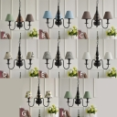 Fabric Shaded Hanging Chandelier Vintage Rustic 3 Lights Suspension Light in Black Finish