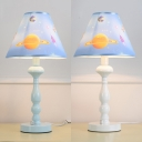 Blue/White Tapered Table Lamp Astronomy&Space Acrylic 1 Light Reading Light for Boys Bedroom