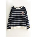 Fashion Striped Pattern Cat Embroidered Long Sleeve Pullover Sweatshirt