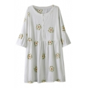 Stylish Floral Embroidered 3/4 Length Sleeve Round Neck Dress