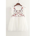 Chic Floral Embroidered Pattern Round Neck Ruffle Trim Sleeveless Dress