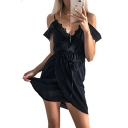 Off The Shoulder Short Sleeve Lace Insert Tie Waist Mini Asymmetric Dress
