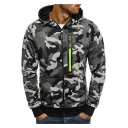 Zipper Embellished Camouflage Printed Long Sleeve Zip Up Hoodie