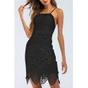 Backless Spaghetti Straps Sleeveless Mini Asymmetric Lace Dress