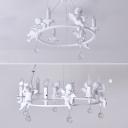 Modern Chandelier Lighting Round Ring Angel Baby Crystal Balls Chandelier Light in White