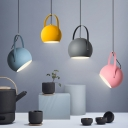 Metal Dome Suspension Light Simple Macaron Restaurant Children Room 1 Light Pendant Light