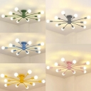 Multi Light Open Bulb Chandelier Light Colorful Nordic Bedroom Metal Suspension Light