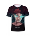 3D Character Geometric Printed Round Neck Short Sleeve Tee