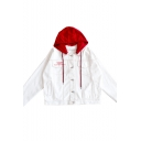 Color Block Button Down Letter Embroidered Long Sleeve Hooded Coat
