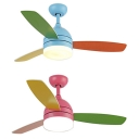 Kids Room LED Macaroon Style 3 Blade 16.54 Inch Blue Kids Ceiling Fan in Blue/Pink
