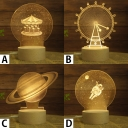Decorative Creative 3D Effect Acrylic Globe/Ferris Wheel/Merry-Go-Round/Outerspace Night Light