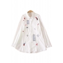 Leisure Cartoon Embroidered Lapel Collar Long Sleeve Button Down Tunic Shirt