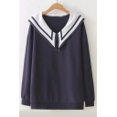Color Block Navy Collar Long Sleeve Loose Sweatshirt