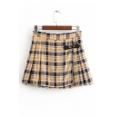 Single Button Front Plaid Printed Mini Pleated Skirt