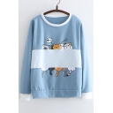 Color Block Cat Printed Long Sleeve Round Neck Sweatshirt