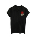 Letter Rose Embroidered Round Neck Short Sleeve Tee