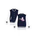 Contrast Striped Trim Stand Up Collar Unicorn Printed Long Sleeve Button Down Baseball Jacket