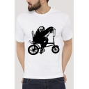 Bicycling Sloth Printed Round Neck Short Sleeve Tee