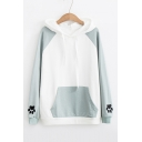 Rabbit Pattern Paw Embroidered Color Block Long Sleeve Hoodie