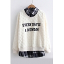 EVERY DAY IS A NEW DAY Letter Printed Fake Two Pieces Long Sleeve Plaid Patchwork Sweatshirt
