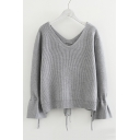 V Neck Long Sleeve Drawstring Cuff Plain Ribbed Sweater