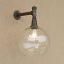 Vintage Glass Globe Shade Metal Wall Sconce with One Light