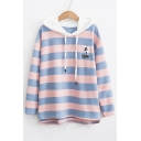 Dog Embroidered Color Block Striped Printed Long Sleeve Hoodie