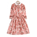 Contrast Lapel Collar Floral Printed Long Sleeve Button Down Midi A-Line Dress