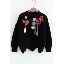 Button Beaded Embellished Applique Round Neck Long Sleeve Sweater