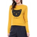 Cartoon Cat MEOW Letter Printed Round Neck Long Sleeve Sweatshirt