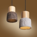 Cement Shade Wooden Pendant Lighting in Retro Style for Dinging Room 4 Colors for Option